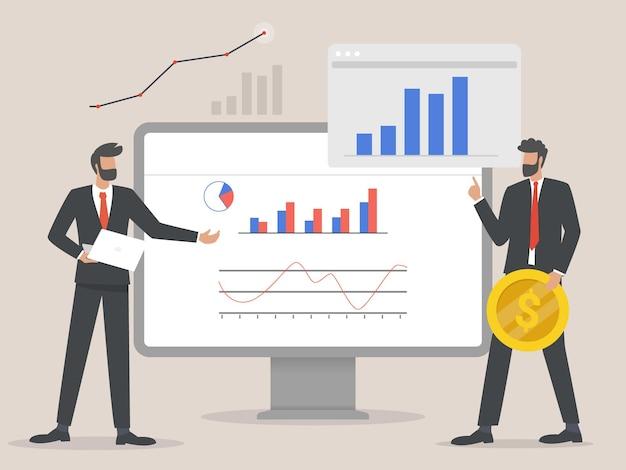 Biznesmen profesjonalistów analizując wykresy ilustracyjne