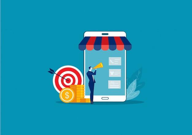 Biznesmen promuje z skierowanie pojęcia marketingowym wektorem