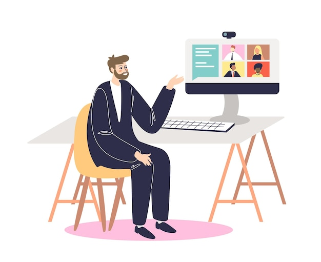 Biznesmen prowadzący spotkanie wideo z kolegami lub partnerami online. działalności człowieka podczas połączenia konferencyjnego w biurze siedzi na komputerze stacjonarnym.