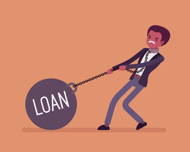 Biznesmen przeciągając ciężar pożyczka na łańcuch
