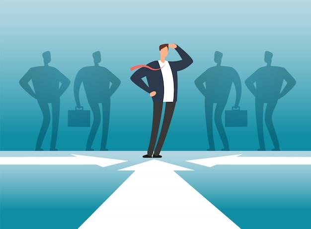 Biznesmen przed ludźmi grupuje cień. zarządzanie pracownikami, praca zespołowa i koncepcja wektor przywództwa
