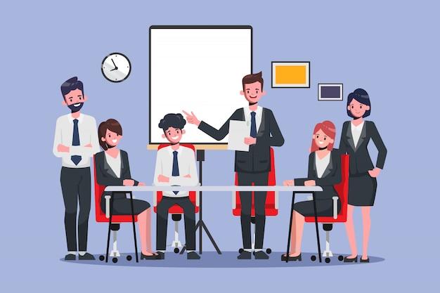 Biznesmen przedstawia biznesowa profesjonalista i biurowa praca zespołowa. animacja ruchu. spotkanie seminaryjne kolegi.