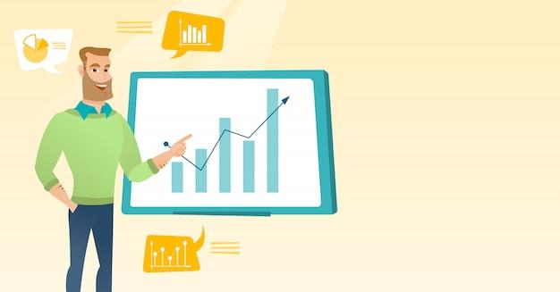 Biznesmen przedstawia przegląd danych finansowych.