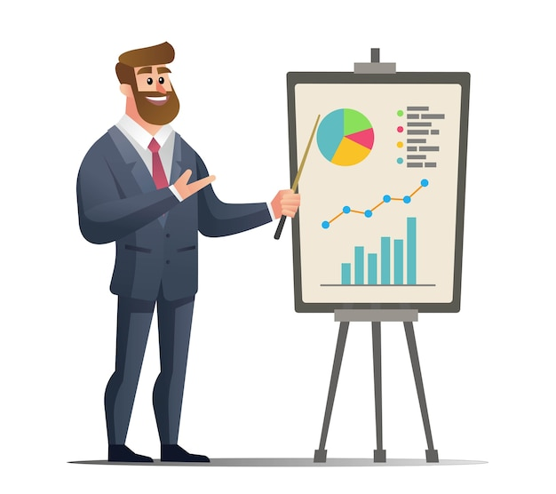 Biznesmen przedstawienie koncepcji marketingowej wykres diagramu