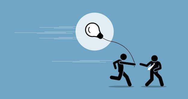 Biznesmen przekazuje pomysł innej osobie.
