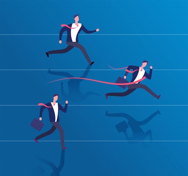 Biznesmen przekraczania linii mety. osiągnięcie sukcesu, przywództwo i zwycięska koncepcja biznesowa