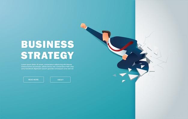 Biznesmen przełamuje mur do sukcesu