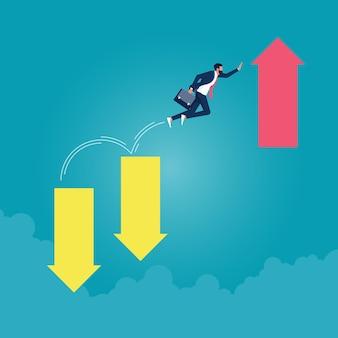 Biznesmen przeskakuje na wyższy poziom wykresu biznes rozwija się i przezwycięża koncepcję kryzysu finansowego