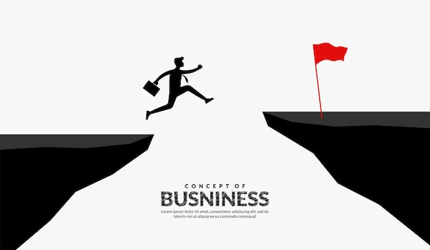 Biznesmen przeskakuje przez klify, aby pokonać przeszkody w celu pokonania sukcesu w biznesie i koncepcji sukcesu