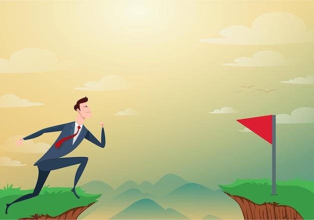 Biznesmen przeskoczyć przez przeszkody między wzgórzem a czerwoną flagą. ilustracja kreskówka.