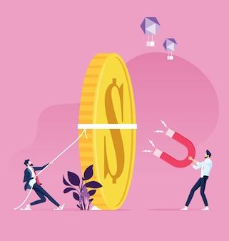 Biznesmen przyciąga pieniądze za pomocą dużego magnesu