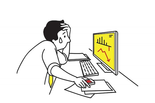 Biznesmen przygnębiony z wykresu spada