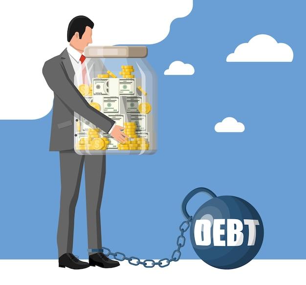 Biznesmen przykuty do dużego ciężaru długu z kajdanami. postać przywiązana łańcuszkiem do dużego hantla. biznesmen korporacyjnego niewolnictwa. podatki, dług, opłaty, kryzys i upadłość. płaska ilustracja wektorowa
