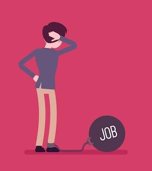 Biznesmen przykuty łańcuchem o gigantycznej metalicznej wadze job