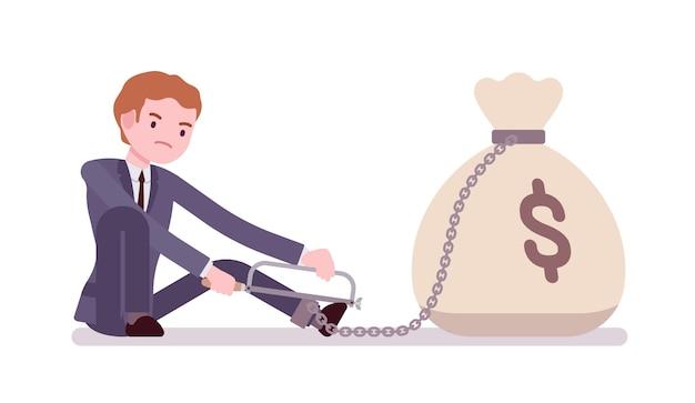 Biznesmen przykuty łańcuchem worek pieniędzy