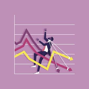 Biznesmen przykuty ze spadającą strzałką w dół wykresu recesji gospodarczej ilustracja koncepcja