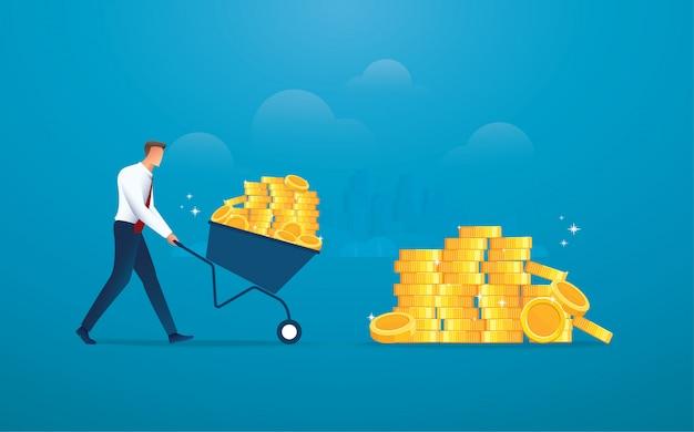 Biznesmen push wózek pełen złotych monet