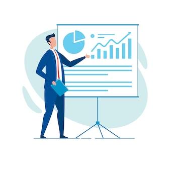 Biznesmen, raportowanie ze schematami i wykresami