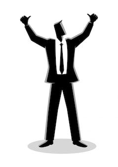 Biznesmen ręce do góry