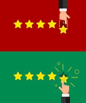 Biznesmen ręka daje pięć gwiazdek emotikonów dobre pozytywne i złe negatywne opinie. reputacja jakości przeglądu koncepcji stylu płaskiego klienta. ilustracja wektorowa eps