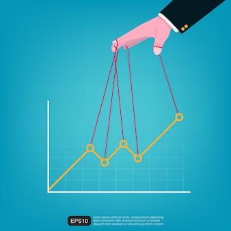 Biznesmen ręka kontrolująca wykres wektor graficzny ilustracja. projekt płaski