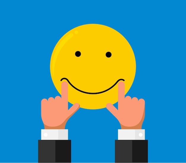 Biznesmen ręka palec stretch pociągnąć na usta usta na buźkę emoji uśmiech emocji na niebieskim tle. reputacja opinii online jakość opinii klienta koncepcja płaski styl. ilustracja wektorowa eps