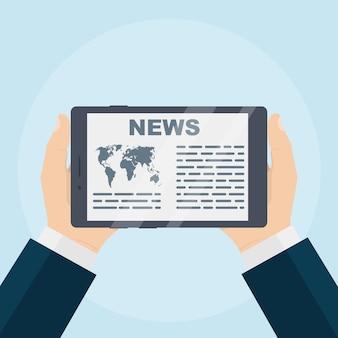 Biznesmen ręka trzyma tablet do czytania wiadomości na ilustracji ekranu