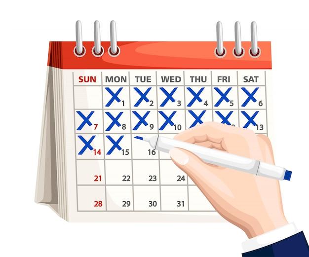 Biznesmen ręka z kalendarza znacznika pióra. kalendarz z niebieskim znakiem. koncepcja planowania. ilustracja na białym tle