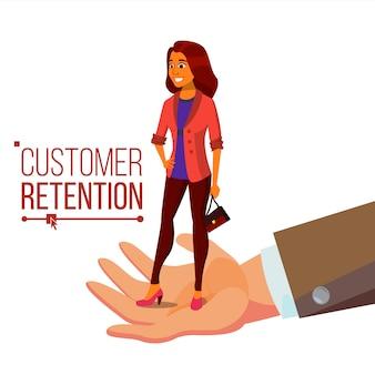 Biznesmen ręka z kobieta klientem