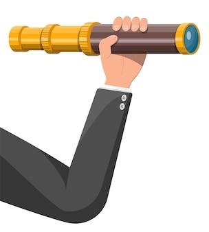 Biznesmen ręka z lunetą szuka możliwości. biznesmen z teleskopem. poszukuje nowych perspektyw. patrząc w przyszłość. przywództwo lub wizjoner. ilustracja wektorowa w stylu płaski