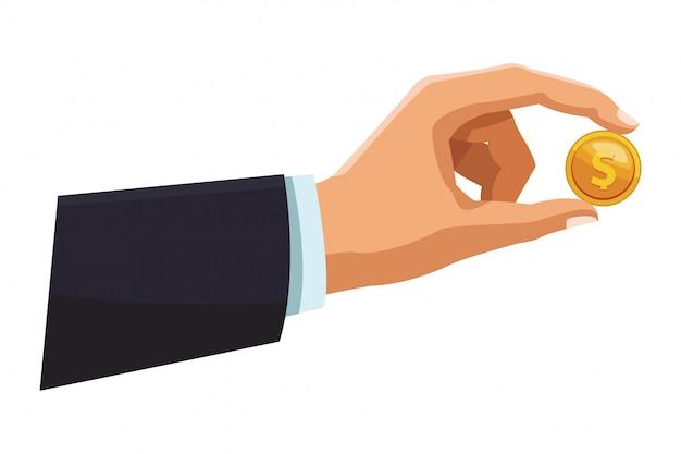 Biznesmen ręka z monetą