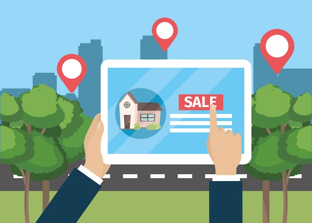 Biznesmen ręka z pastylka domu właściwością sprzedaż