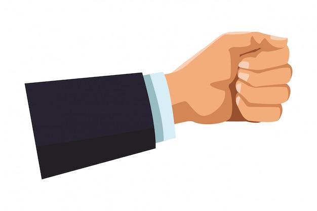 Biznesmen ręka z ręką zamkniętą