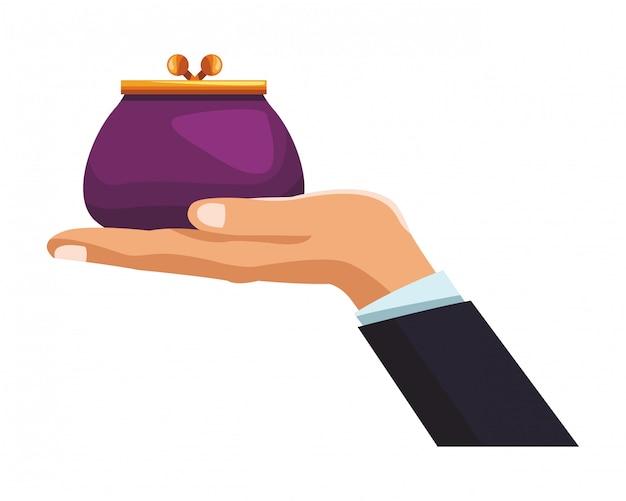 Biznesmen ręka z torebką