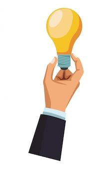 Biznesmen ręka z żarówki światłem