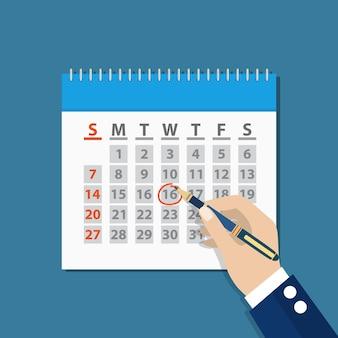 Biznesmen ręka znak w kalendarzu przez pióro. organizator koncepcji