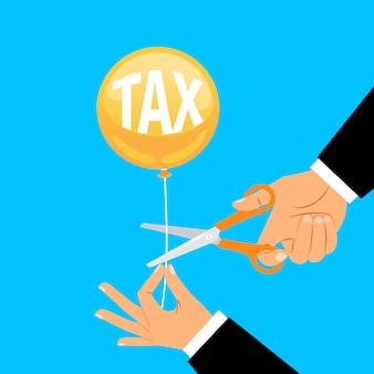 Biznesmen ręki cięcia podatku balonu sznurek