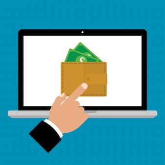 Biznesmen ręki punkt e-portfel dla komputerowego laptopu