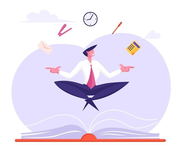 Biznesmen relaksujący i medytujący w pozie lotosu z materiałami biurowymi