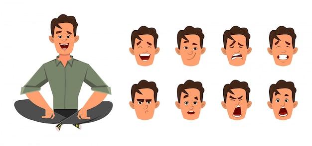 Biznesmen robi joga lub relaksuje medytację z różnego rodzaju wyrazem twarzy