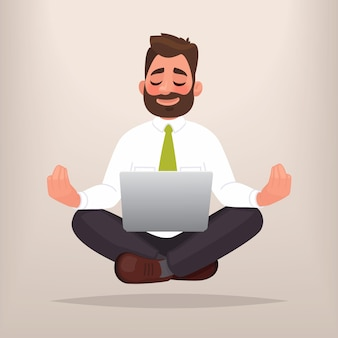 Biznesmen robi joga. pojęcie medytacji. spokój w pracy, znajdowanie rozwiązań w biznesie. w stylu kreskówki