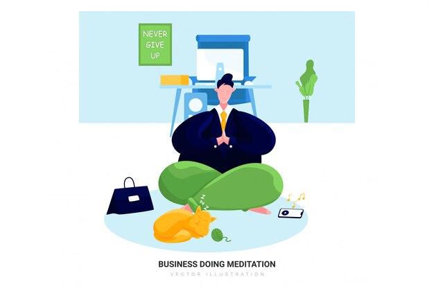Biznesmen robi medytacji