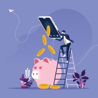 Biznesmen robi pieniądze online z smartphone pojęciem