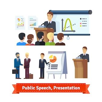 Biznesmen robi prezentacji