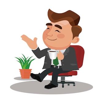 Biznesmen robi przerwę, relaksując się i pijąc kawę.