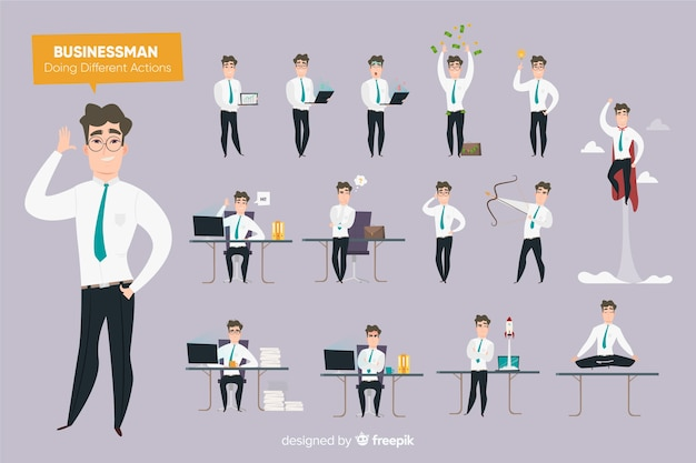 Biznesmen robi różne akcje