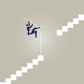 Biznesmen robi skok o tyczce dla sukcesu idź naprzód pomimo barier lub granic