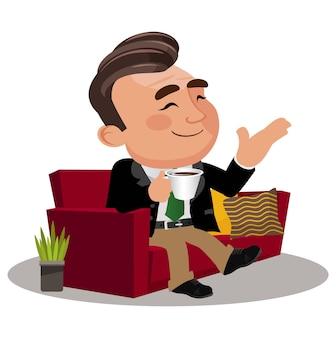 Biznesmen robi sobie przerwę relaksując się i trzymając herbatę z kawą