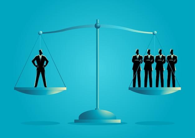 Biznesmen równy jako czterech biznesmenów