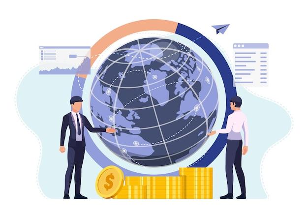Biznesmen rozmawia ze swoim partnerem z earth globe i global network. koncepcja globalnego biznesu.